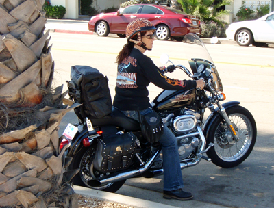 Motorcycle mom drives Harley-Davidson
